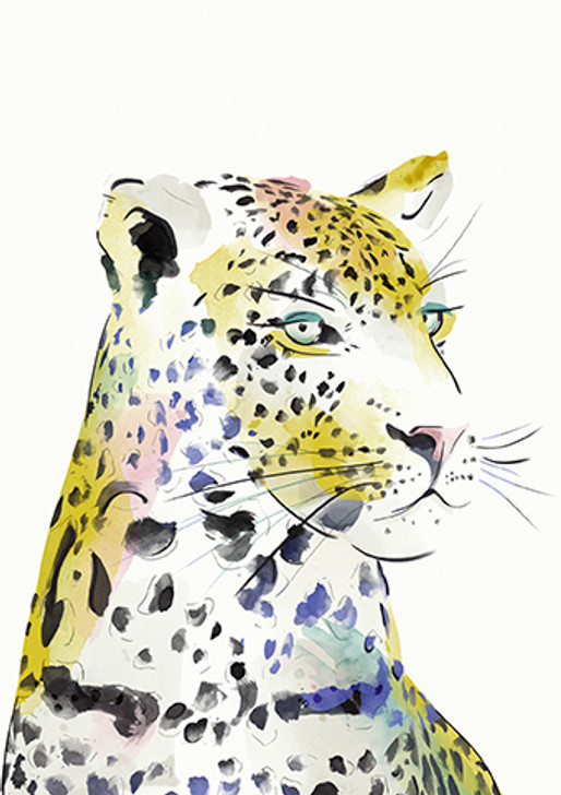 African Art Greeting Card - Titled 'Leopard Watercolour'