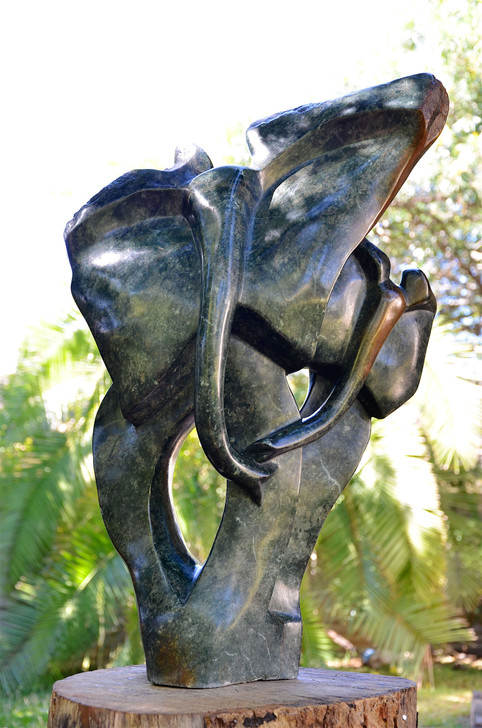 Shona Sculpture from Zimbabwe -'Elephant & Calf 'in Green Opal Stone by Thomas Isaac