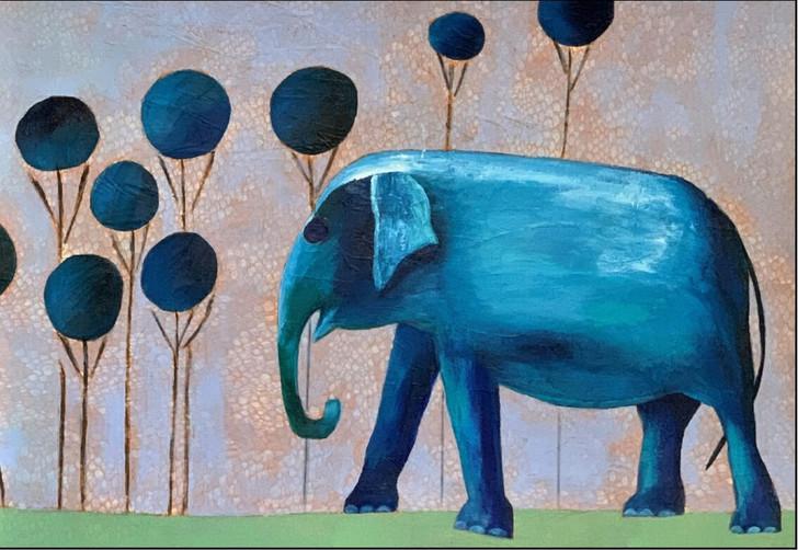 African Art Greeting Card - Ellie in Blue by Joss Ross - Soulbrush Art