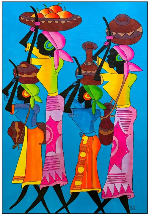 African Art Greeting Card - Teamwork by Joss Ross - Soulbrush Art