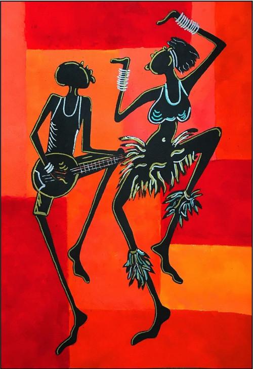 African Art Greeting Card -Dance with Me by Joss Ross - Soulbrush Art