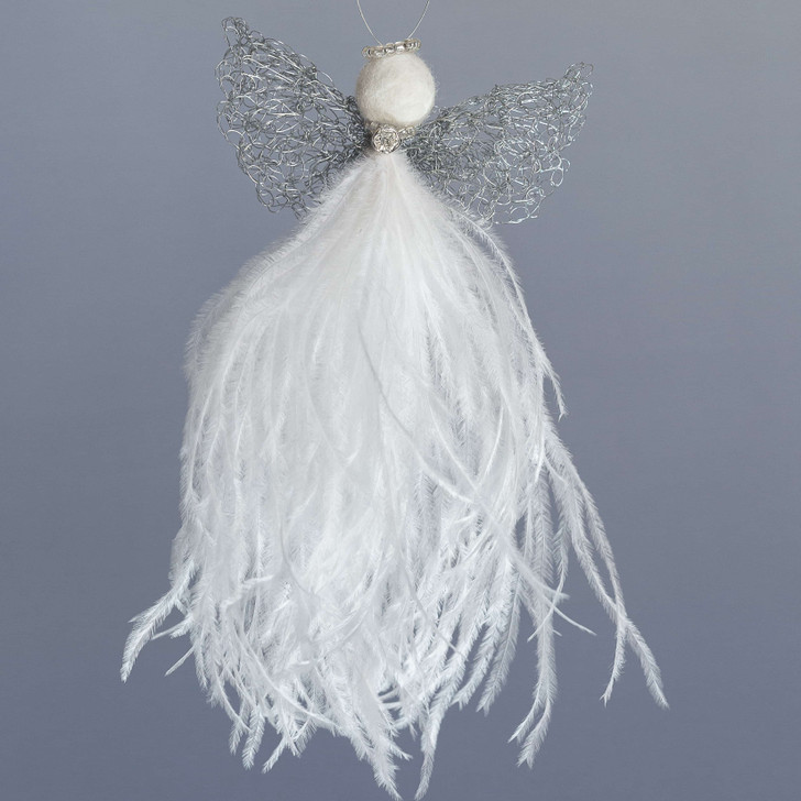 African Guardian Angel - 'Gardi.' Handcrafted from Ostrich Feathers at Karoo Angels in South Africa