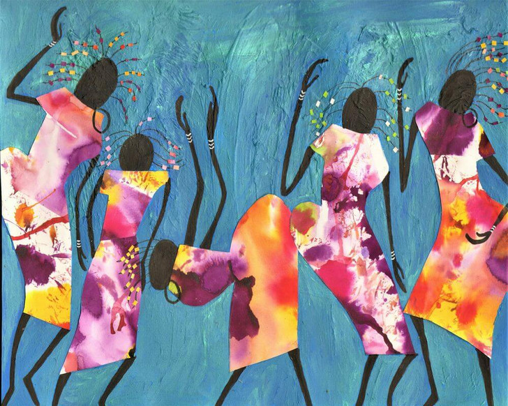 Giclée African Art Print 'Dancing' by Joss Rossiter