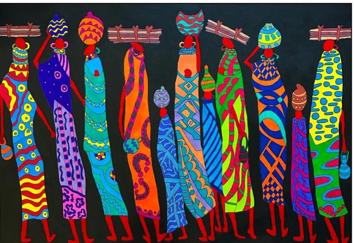 African Art Greeting Card - Women Power' by Joss Rossiter - Soulbrush Art