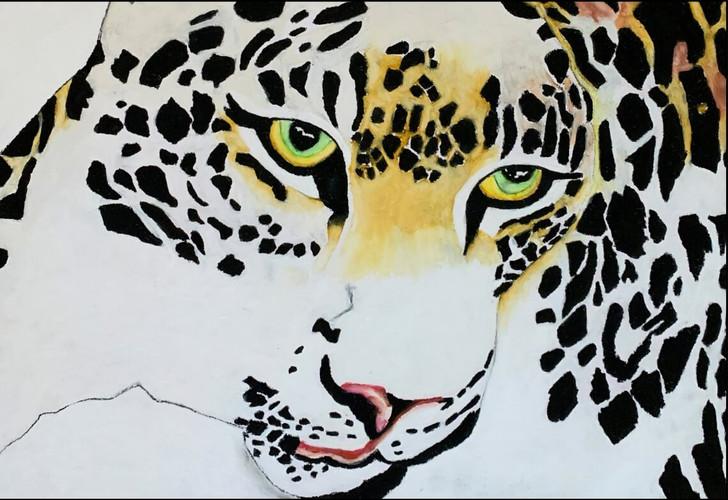 African Art Greeting Card 'Lazy Leopard' by Joss Rossiter - Soulbrush Art