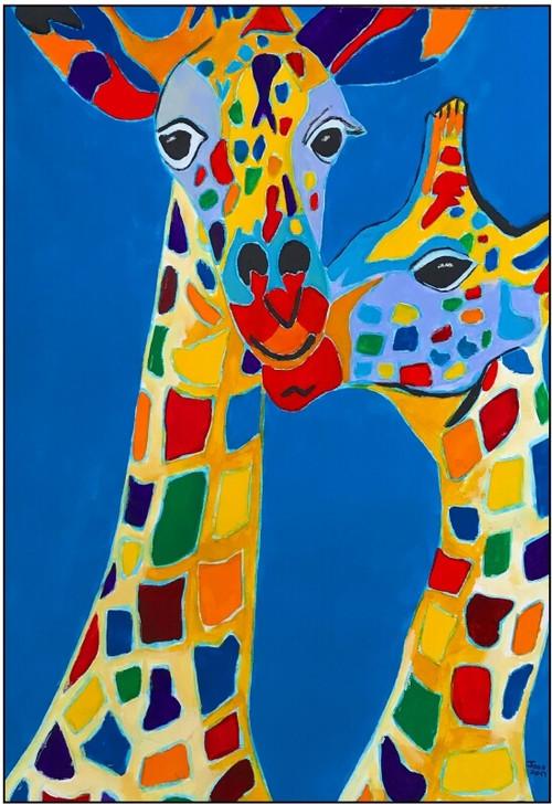 African Art Greeting Card - 'Raffie Twins' by Joss Rossiter - Soulbrush Art