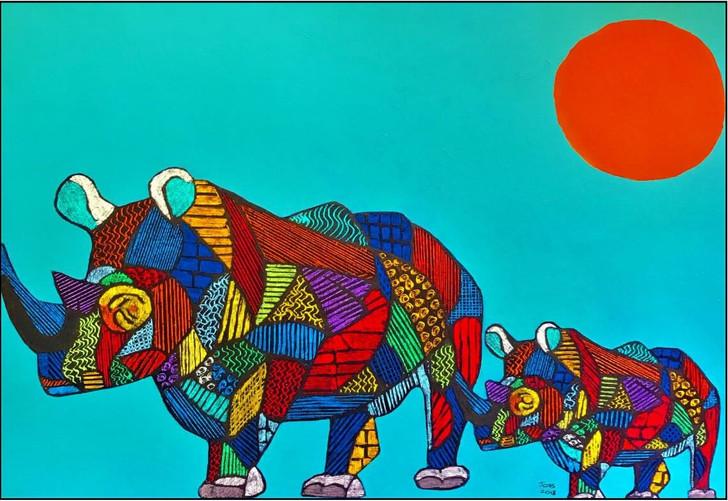 African Art Greeting Card - 'Rhino Love' by Joss Rossiter - Soulbrush Art
