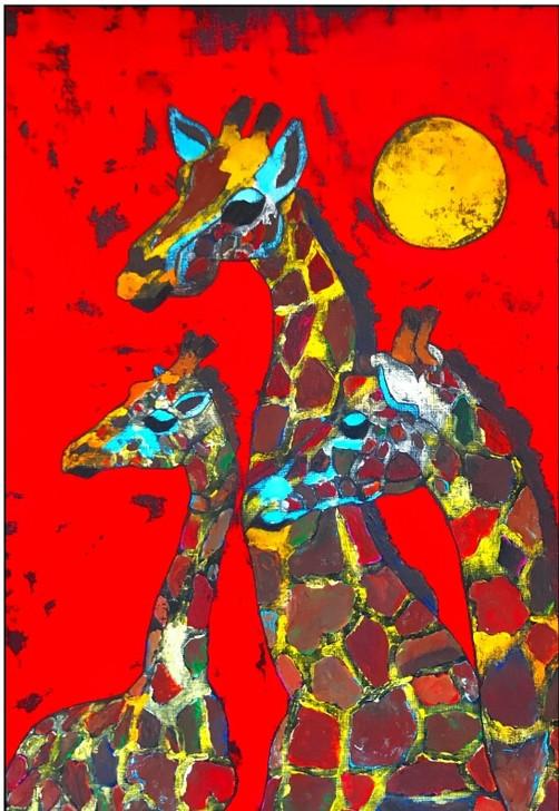 African Art Greeting Card - 'Raffie Love' by Joss Rossiter - Soulbrush Art