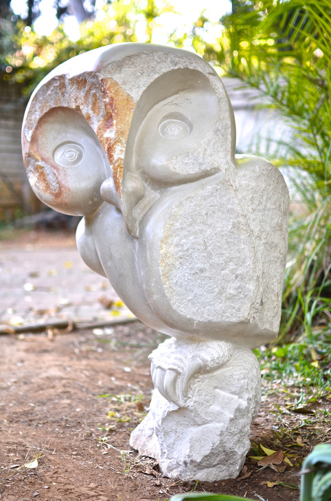 Shona Sculpture - 'Spirit Owl' in White Opal Stone by Robert Chimica