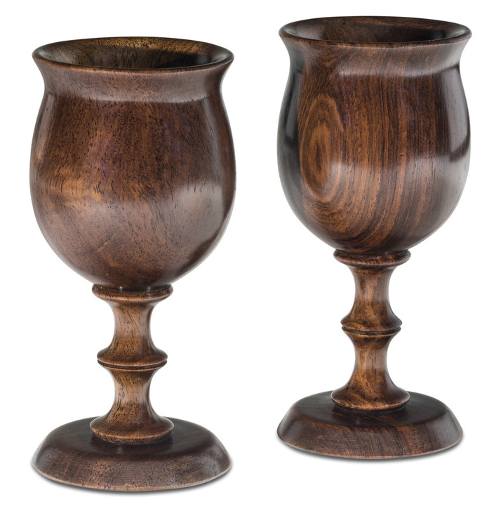A Pair of Wooden Goblets Handcrafted in Malawi from African Leadwood