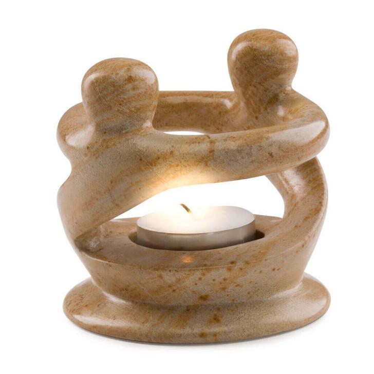 Soapstone Friendship Tea Light Holder - Handcrafted in Kenya, East Africa