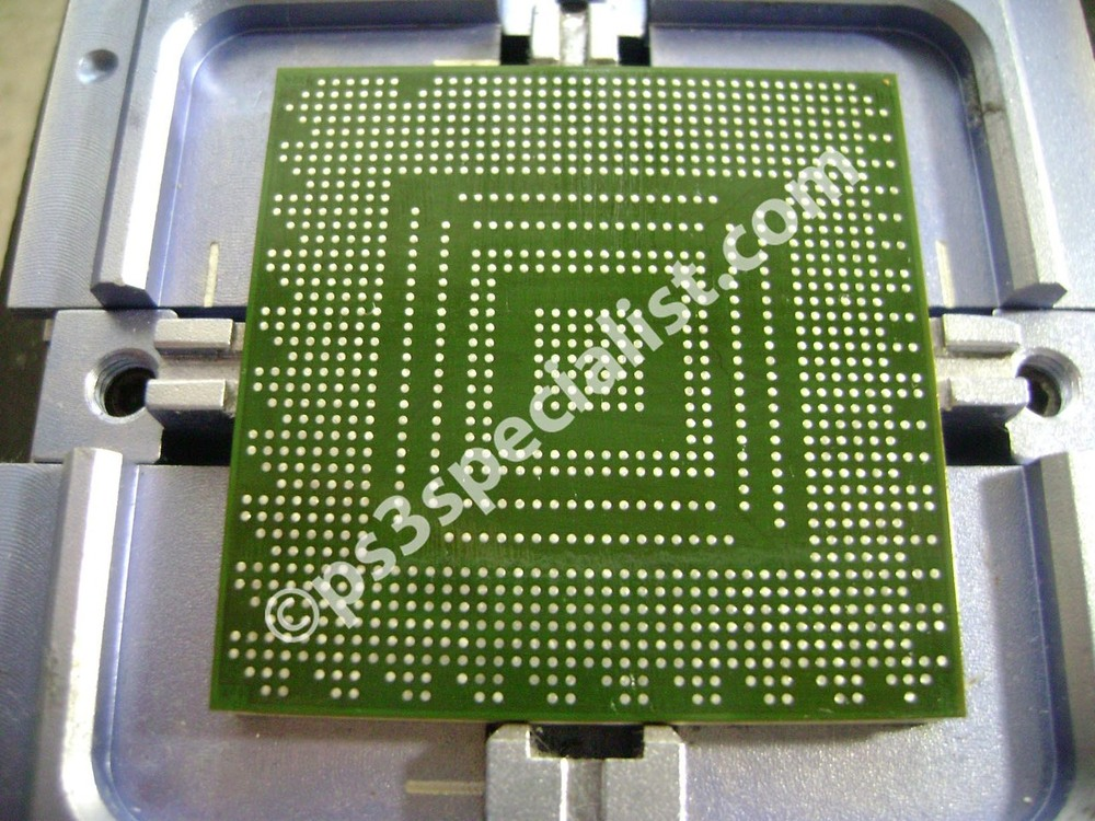 The Graphics chip in the reballing device ready for reballing