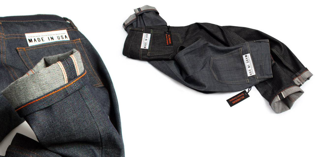 williamsburg gray & black selvedge american made raw denim jeans made in USA