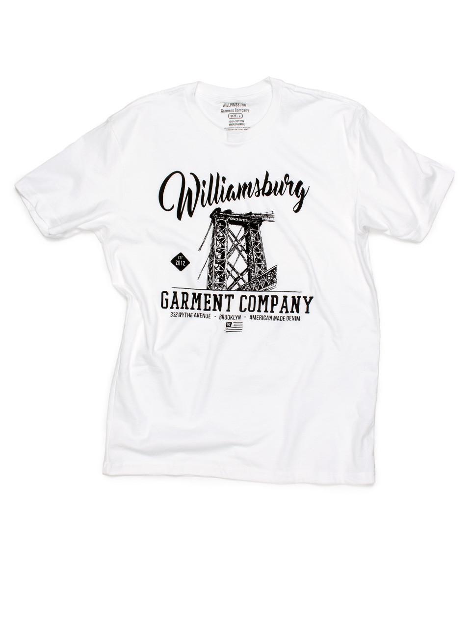 2234855fb White Williamsburg bridge logo t-shirt with soft water-base print.