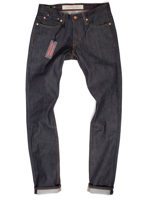 Raw denim jeans made in USA,Hope Street slim tapered fit