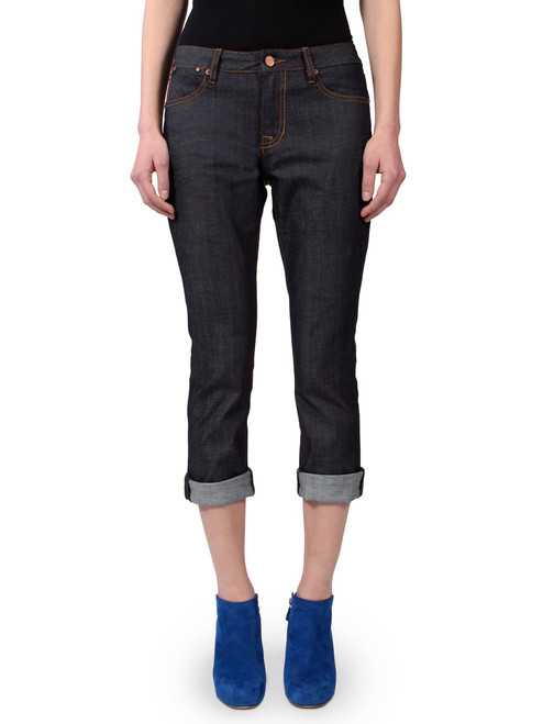 Women's Raw Denim Jeans in relaxed fit.