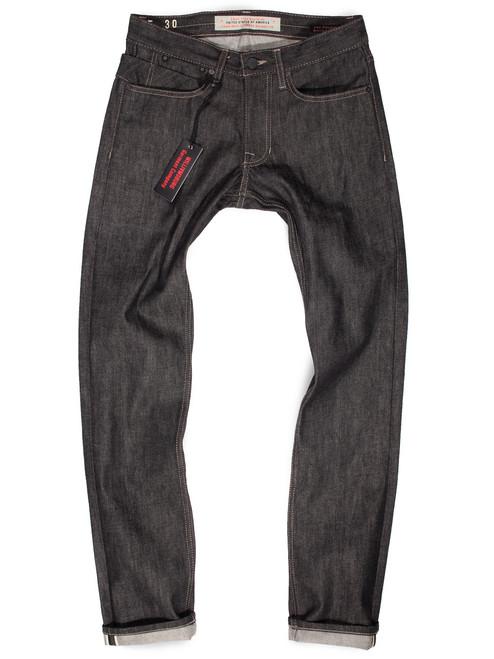 Men's Slim Black Selvedge Raw Denim American made jeans.