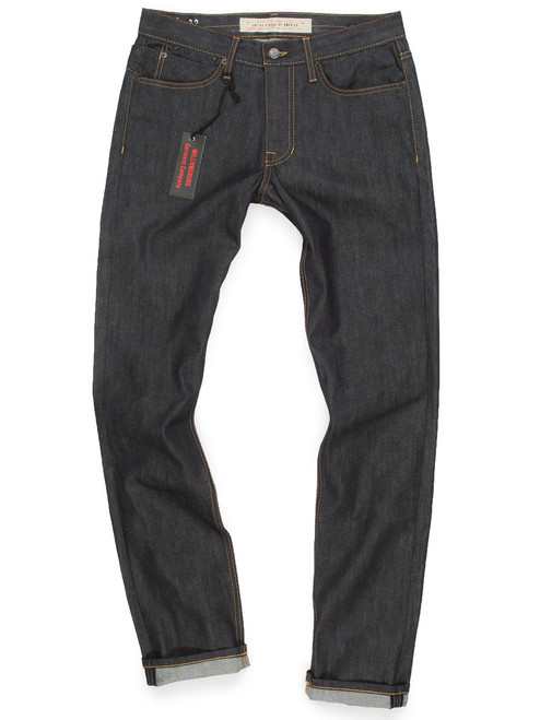 Grand Street men's standard slim fit raw denim jeans made in the USA.