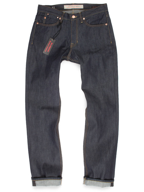 Men's raw denim relaxed straight leg American made jeans.