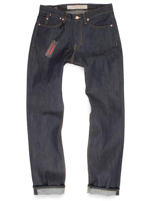 Men's raw denim relaxed straight leg American made jeans.