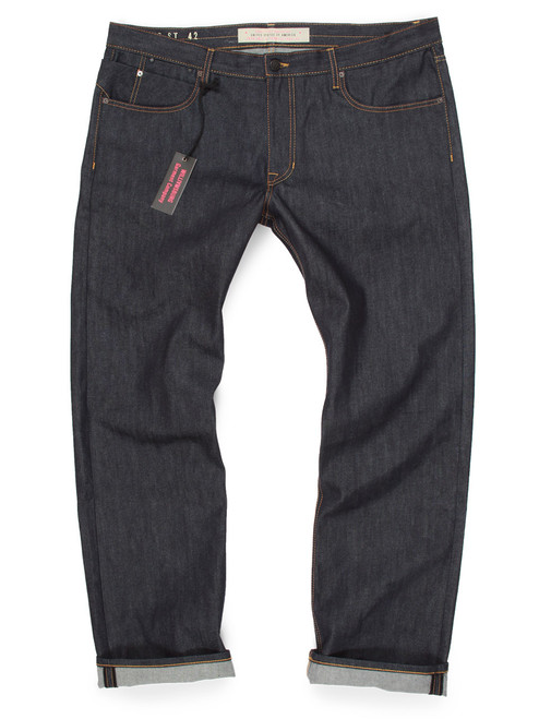 Big and Tall Slim Raw Denim American Made Jeans for Big Men.