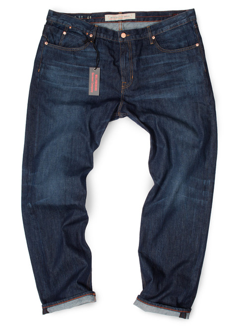 Dark wash slim fit Big and Tall jeans for big men, made in USA.