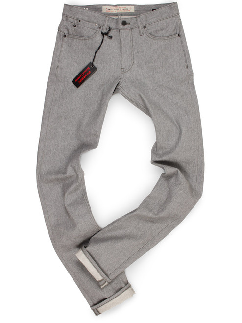 """Tall Men's Heather Gray Raw Denim Jeans made in USA with long 38"""" inseam."""