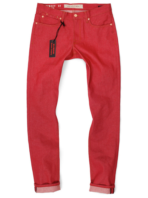 """Red Tall Men's Jeans in Japanese raw denim with long 40"""" inseams. Big and Tall red slim fit jeans."""