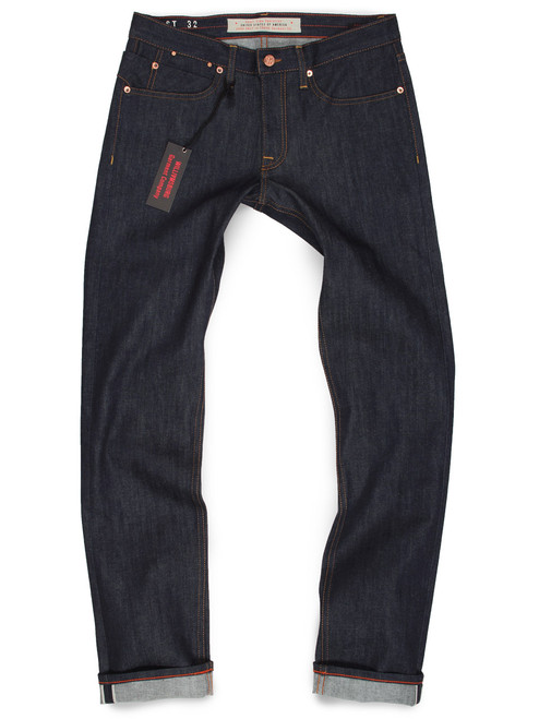 Raw denim stretch selvage jeans for men, made in USA. Produced in American made denim from Cone Mills White Oak.