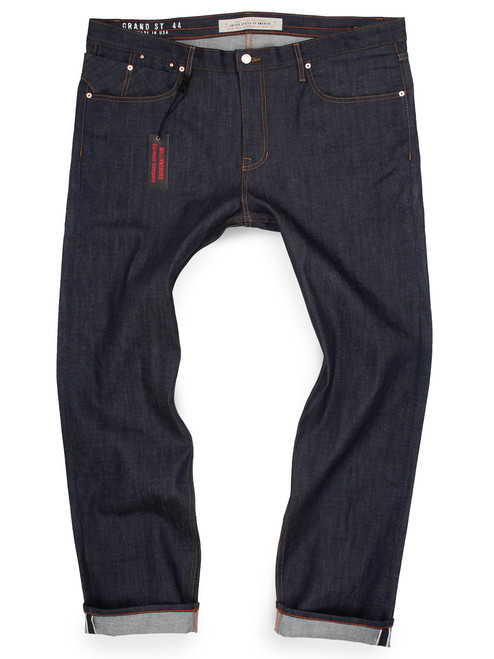 Big and Tall stretch selvedge raw denim American made jeans in big men's slim fit.