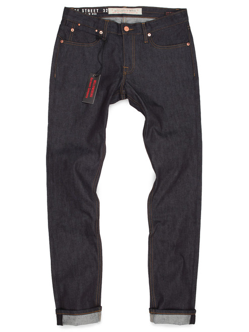 Hope Street American made tall mens slim tapered raw denim jeans with stretch.