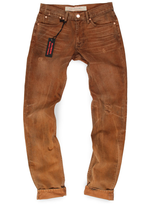 Vintage washed American made jeans with button fly inspired by canvas work pants. First production image.