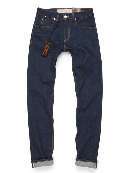 Women's selvedge denim American made jeans in slim fit.