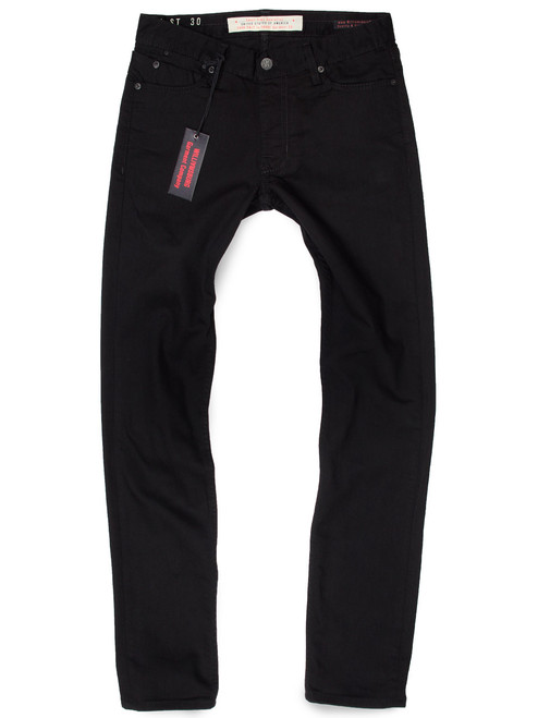 Williamsburg black jeans for tall skinny guys with extra long 40-inch inseam. American made tall mens jeans.