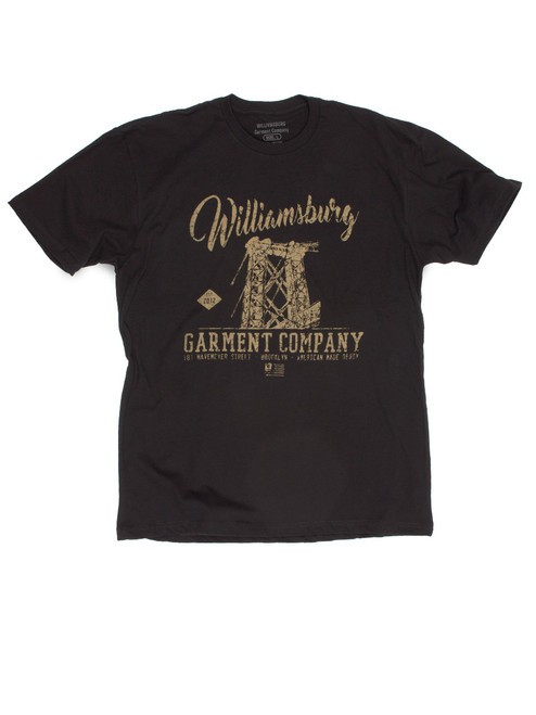 Black Williamsburg t-shirt with discharge print by Brooklyn based brand Williamsburg Garment Co.