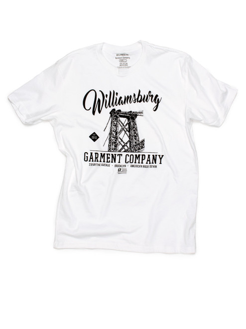 White Williamsburg bridge logo t-shirt with soft water-base print.