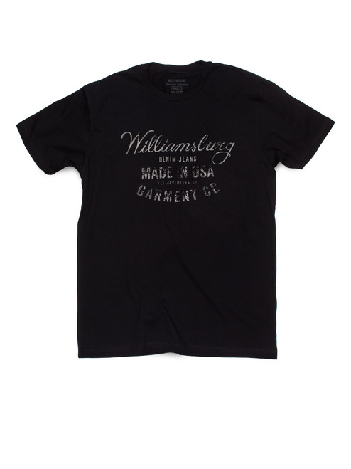 Black Williamsburg USA Logo t-shirt by American made raw denim brand Williamsburg Garment Company.