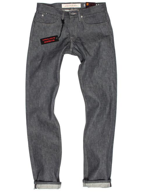 Italian gray selvedge raw denim American made jeans in the Grand Street slim fit.