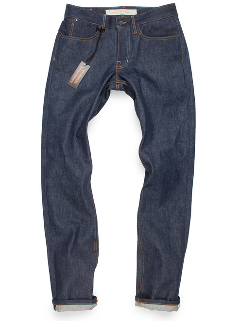 Men's slim fit 14-oz selvedge raw denim American made jeans.