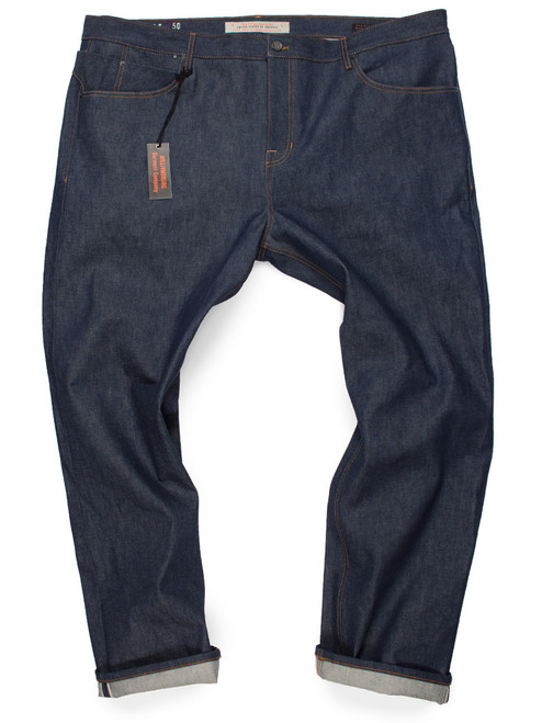 Size 50, big men's slim fit 14-oz selvedge raw denim American made jeans from Williamsburg big and tall collection.