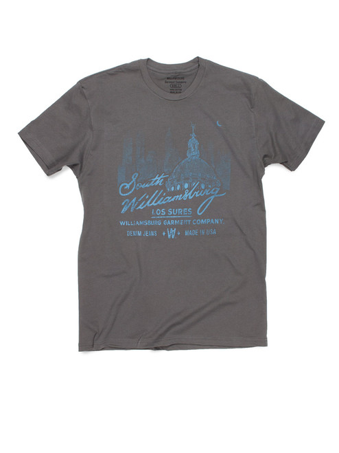 Los Sures - South Williamsburg Gray logo t-shirt by raw denim brand Williamsburg Garment Company American made jeans.