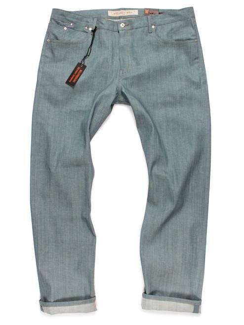 Big men's colored jeans in Seafoam Green Japanese denim.