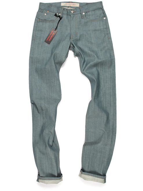Extra-long 40-Inseam tall jeans for men in seafoam green color and slim fit. American made jeans in lightweight Japanese raw denim.