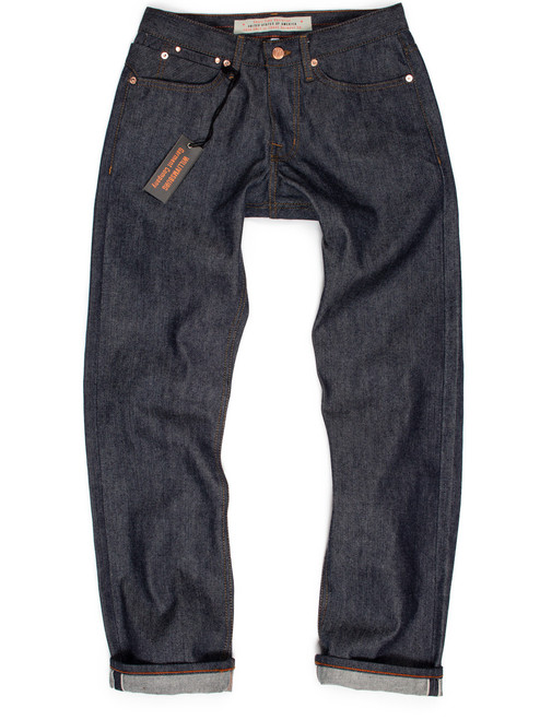 Cone American raw denim left hand twill selvedge jeans made in the USA.