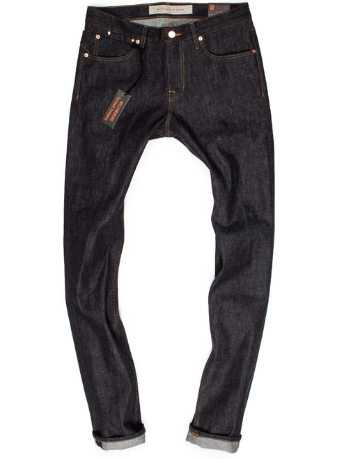 Hope Street tall men's 38-inseam slim tapered jeans made in the USA.