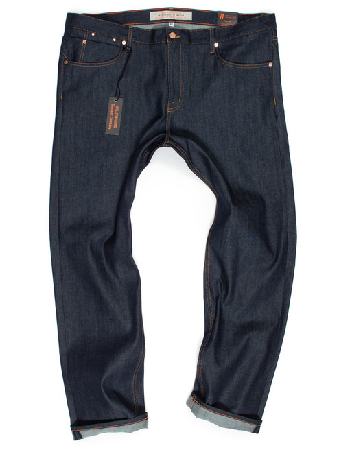 The new Hope Street big men's slim stretch raw denim tapered jeans made in American Cone White Oak denim.
