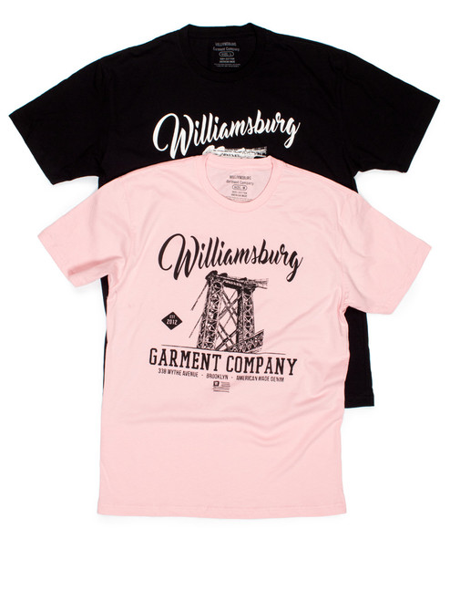 Black and Pink Williamsburg Garment Company t-shirts for men & women made in Brooklyn.