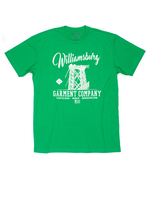 Kelly Green t-shirt with white print features the iconic Williamsburg Bridge from Brooklyn's American made denim brand.