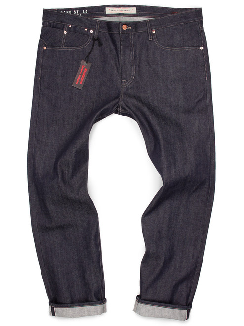Custom made-to-order jeans for big men shown in raw 12.75-oz. Japanese selvedge with red-line self-edge.