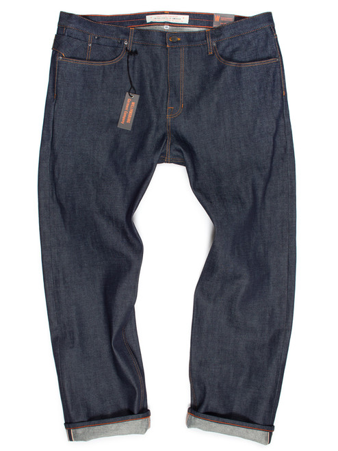 Big men's Japanese selvedge straight-leg American made raw denim jeans. Pictured is size 46 from the Big and Tall jeans collection.